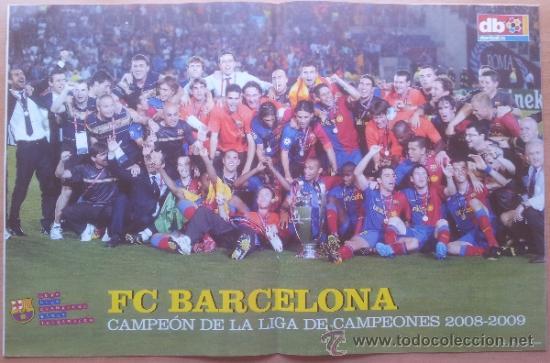 Coleccionismo deportivo: DON BALON FC BARCELONA TRICAMPEON 2008/2009 POSTER CAMPEON CHAMPIONS LEAGUE LIGA COPA DEL REY 09 - Foto 2 - 34521914