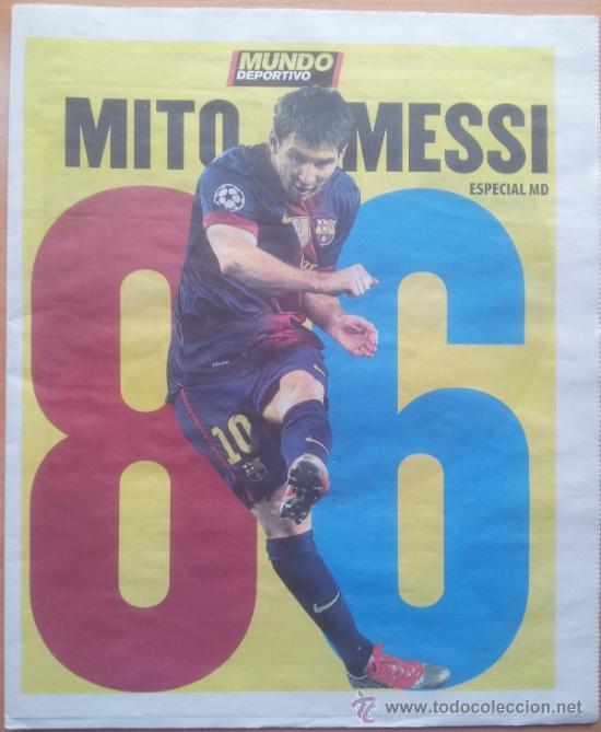Coleccionismo deportivo: SUPLEMENTO ESPECIAL MUNDO DEPORTIVO POSTER MESSI RECORD DE GOLES AÑO 2012 - FC BARCELONA - BARÇA - Foto 2 - 117039722