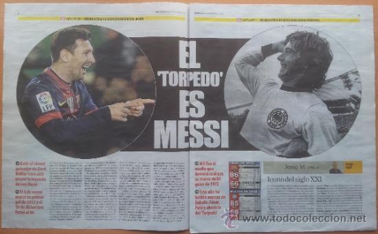 Coleccionismo deportivo: SUPLEMENTO ESPECIAL MUNDO DEPORTIVO POSTER MESSI RECORD DE GOLES AÑO 2012 - FC BARCELONA - BARÇA - Foto 3 - 117039722