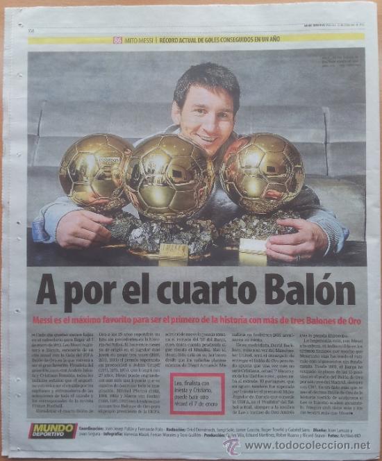 Coleccionismo deportivo: SUPLEMENTO ESPECIAL MUNDO DEPORTIVO POSTER MESSI RECORD DE GOLES AÑO 2012 - FC BARCELONA - BARÇA - Foto 6 - 117039722