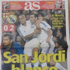 Coleccionismo deportivo: DIARIO AS FC BARCELONA REAL MADRID SEMIFINAL CHAMPIONS LEAGUE 2001/2002 - CAMPEON LA NOVENA . Lote 35531735