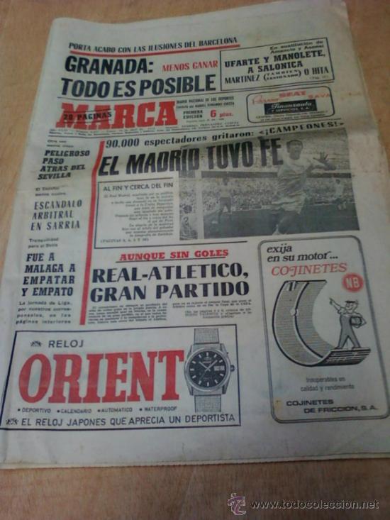 DIARIO MARCA . FECHA 10 DE ABRIL DE 1972 (Coleccionismo Deportivo - Revistas y Periódicos - Marca)