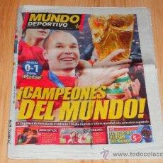 Coleccionismo deportivo: MUNDO DEPORTIVO CAMPEONES DEL MUNDO LUNES 12 DE JULIO 2010 NUMERO 28448 . Lote 35887409