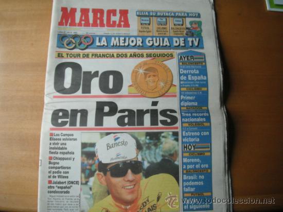 PERIODICO MARCA. ORO EN PARIS . 27.07.1992 (Coleccionismo Deportivo - Revistas y Periódicos - Marca)