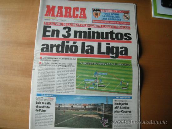 PERIODICO MARCA. EN 3 M. ARDIO LA LIGA. 19.01.1992 (Coleccionismo Deportivo - Revistas y Periódicos - Marca)