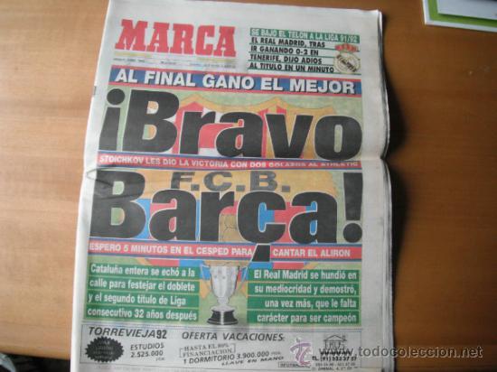 PERIODICO MARCA. BRAVO BARÇA. 08.06.1992 (Coleccionismo Deportivo - Revistas y Periódicos - Marca)