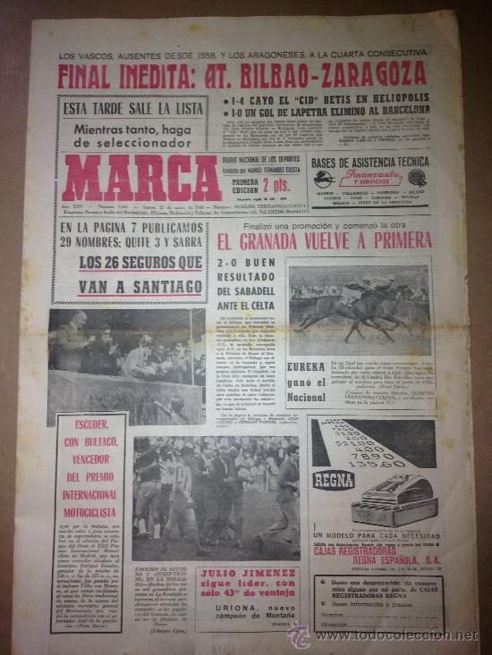 DIARIO MARCA DEL 23 DE MAYO DE 1966 - EL GRANADA VUELVE A PRIMERA (Coleccionismo Deportivo - Revistas y Periódicos - Marca)