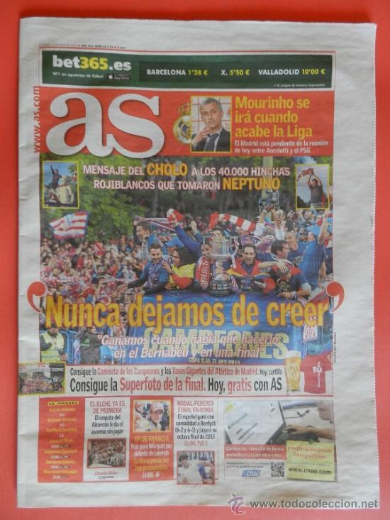 DIARIO AS CELEBRACION ATLETICO DE MADRID CAMPEON COPA DEL REY 2012-2013 - DECIMA ATLETI 12 13 (Coleccionismo Deportivo - Revistas y Periódicos - As)