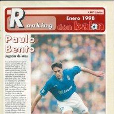 Coleccionismo deportivo: DON BALÓN RANKING 1º Y 2º Y ESPECIAL 2º B. ENERO DE 1998. Lote 38418004