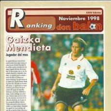 Coleccionismo deportivo: DON BALÓN: RANKING DE 1º Y 2º A Y ESPECIAL 2º B. NOVIEMBRE 1998. Lote 38418061