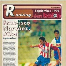 Coleccionismo deportivo: DON BALÓN: RANKING 1º Y 2º A, Y ESPECIAL 2º B. SEPTIEMBRE 1998. Lote 38418127