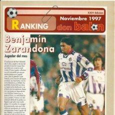 Coleccionismo deportivo: DON BALÓN: RANKING 1º Y 2º A Y ESPECIAL 2º B. NOVIEMBRE 1997. Lote 38418169