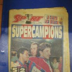 Coleccionismo deportivo: DIARIO SPORT 15 MAYO 1994. SUPERCAMPIONS. BARÇA GANA LA CUARTA LIGA SEGUIDA. . Lote 39538986