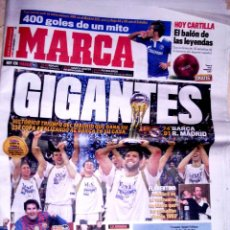 Coleccionismo deportivo: PERIODICO MARCA REAL MADRID CAMPEON COPA BALONCESTO GANANDO AL BARCELONA. Lote 39674387