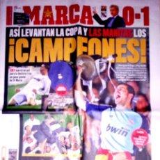 Coleccionismo deportivo: PERIODICO DIARIO MARCA REAL MADRID CAMPEON DE COPA 0-1 AL BARCELONA. Lote 39674401
