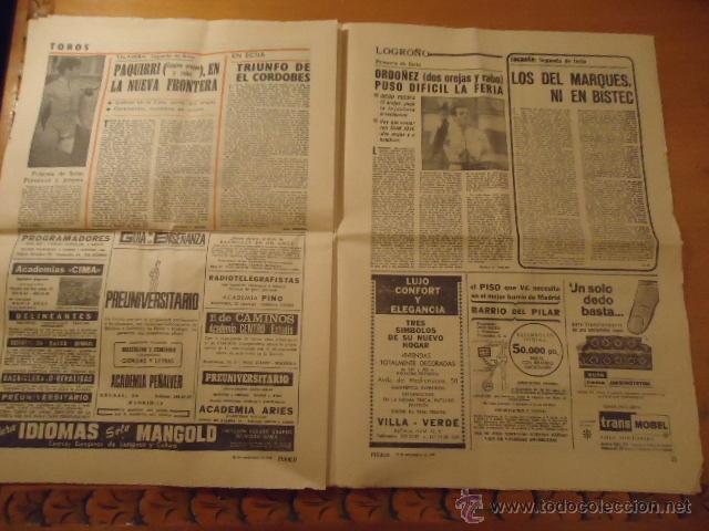 Coleccionismo deportivo: antiguo diario marca - futbol y deportes - año 23 septiembre1968 pueblo extra - REAL MADRID - Foto 5 - 40185492