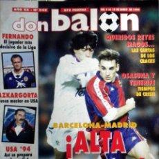 Coleccionismo deportivo: DON BALON 949 POSTER REAL OVIEDO AZKARGORTA F.C. BARCELONA REAL MADRID USA 94. Lote 40391647
