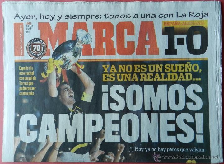 DIARIO MARCA SELECCION ESPAÑOLA CAMPEONA EURO 2008 FINAL - ESPAÑA ALEMANIA EUROCOPA 08 AUSTRIA SUIZA (Coleccionismo Deportivo - Revistas y Periódicos - Marca)