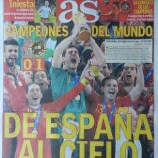Coleccionismo deportivo: DIARIO AS SELECCION ESPAÑOLA CAMPEONA DEL MUNDO - MUNDIAL 2010 - FINAL ESPAÑA HOLANDA SUDAFRICA. Lote 67645162