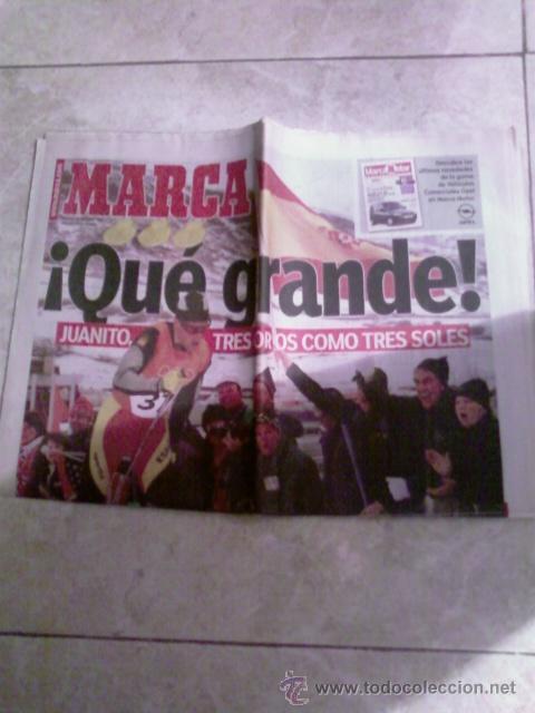 DIARIO MARCA 24-2-2002: JOHAN MUEHLEGG GANA TRES OROS OLÍMPICOS (Coleccionismo Deportivo - Revistas y Periódicos - Marca)