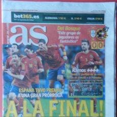 Coleccionismo deportivo: DIARIO AS SELECCION ESPAÑOLA CAMPEONA EURO 2012 - SEMIFINAL ESPAÑA - PORTUGAL EUROCOPA 12. Lote 40550747