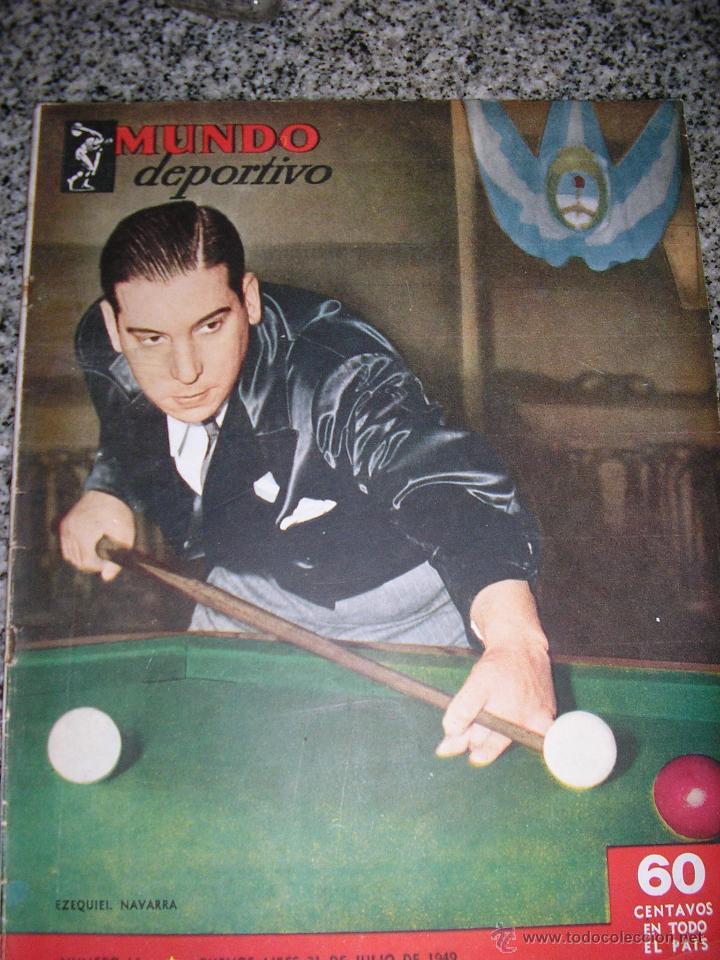 MUNDO DEPORTIVO Nº 14 - TAPA EZEQUIEL NAVARRA (BILLAR) - AÑO 1949 - ARGENTINA - UNICA!! (Coleccionismo Deportivo - Revistas y Periódicos - Mundo Deportivo)