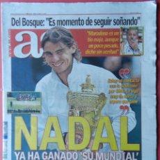 Coleccionismo deportivo: DIARIO AS RAFA NADAL GANADOR SEGUNDO WIMBLEDON 2010 - TENIS CAMPEON GRAND SLAM 10. Lote 40975207