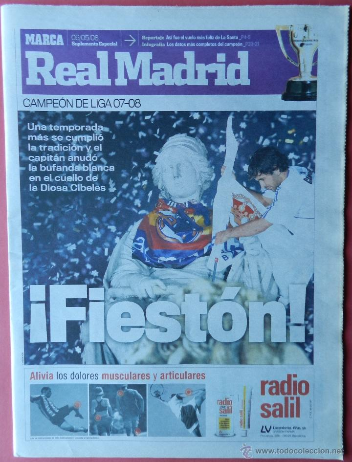 SUPLEMENTO DIARIO MARCA REAL MADRID CAMPEON LIGA 07/08 - CELEBRACION TITULO ALIRON FUTBOL 2007/2008 (Coleccionismo Deportivo - Revistas y Periódicos - Marca)