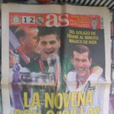 Coleccionismo deportivo: DIARIO AS Nº 11.452. 16 DE MAYO DE 2002. DEL GOLAZO DE ZIDANE AL MINUTO MÁGICO DE IKER. Lote 42059437
