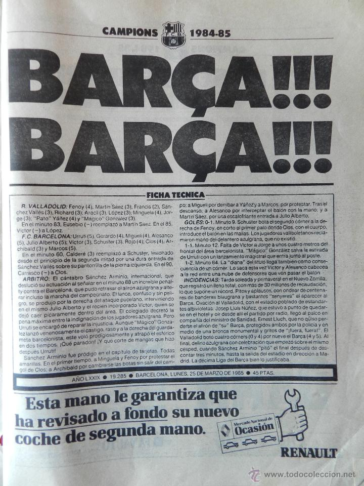 Coleccionismo deportivo: DIARIO MUNDO DEPORTIVO FC BARCELONA CAMPEON LIGA 84/85 - ESPECIAL ALIRON BARÇA TEMPORADA 1984/1985 - Foto 3 - 42193282