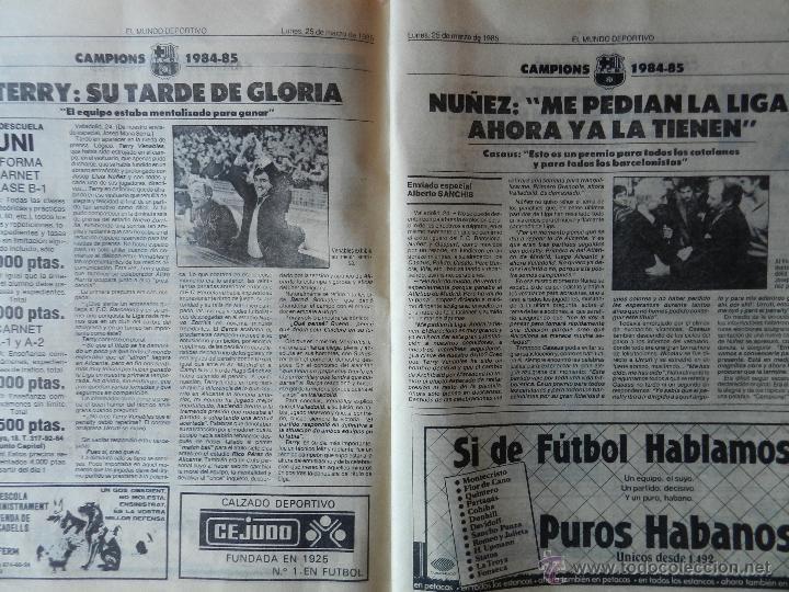 Coleccionismo deportivo: DIARIO MUNDO DEPORTIVO FC BARCELONA CAMPEON LIGA 84/85 - ESPECIAL ALIRON BARÇA TEMPORADA 1984/1985 - Foto 6 - 42193282