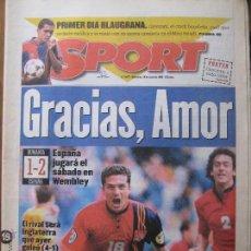 Coleccionismo deportivo: DIARIO SPORT Nº 5973, 19 DE JUNIO DE 1996 - GRACIAS, AMOR - RUMANIA, 1 - ESPAÑA, 2 EUROCOPA 96. Lote 42404693