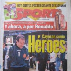 Coleccionismo deportivo: DIARIO SPORT Nº 5977, 23 JUNIO 1996 - CAYERON COMO HÉROES - INGLATERRA 0 - ESPAÑA 0 EUROCOPA 96. Lote 42404753