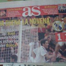 Coleccionismo deportivo: DIARIO PERIÓDICO AS , 2 DE MAYO 2002, SEMIFINAL CHAMPIONS LEAGUE, REAL MADRID 1-1 BARCELONA. Lote 42574430