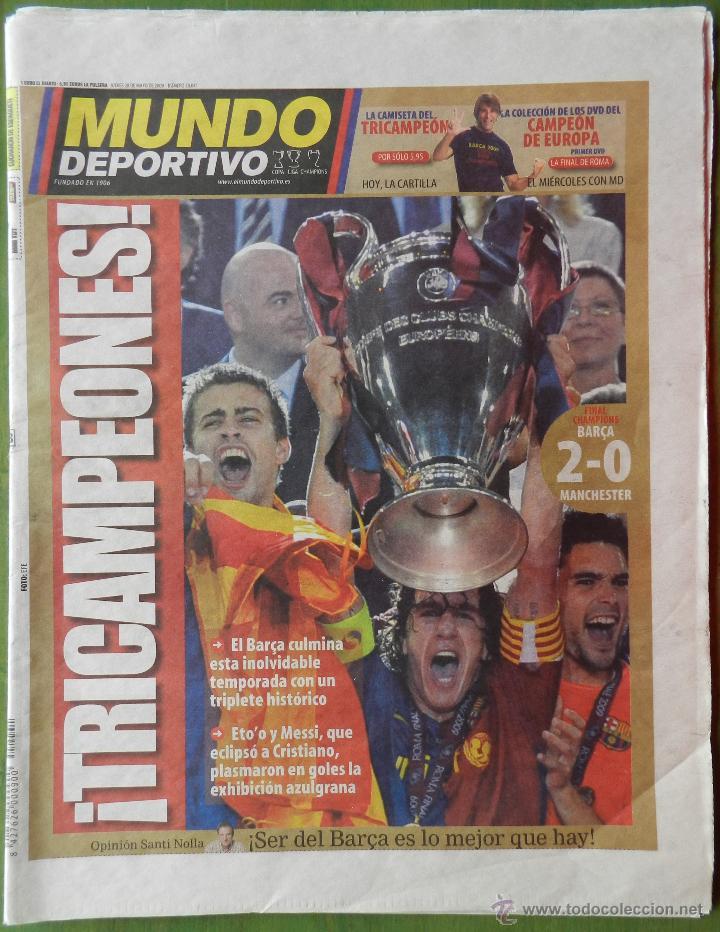 DIARIO MUNDO DEPORTIVO BARÇA CAMPEON CHAMPIONS LEAGUE 2008/2009 PARIS FC BARCELONA MANCHESTER 08 09 (Coleccionismo Deportivo - Revistas y Periódicos - Mundo Deportivo)