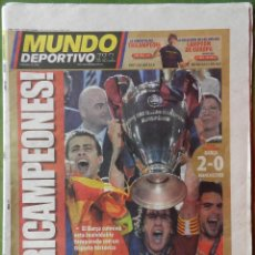 Coleccionismo deportivo: DIARIO MUNDO DEPORTIVO BARÇA CAMPEON CHAMPIONS LEAGUE 2008/2009 PARIS FC BARCELONA MANCHESTER 08 09. Lote 42596134