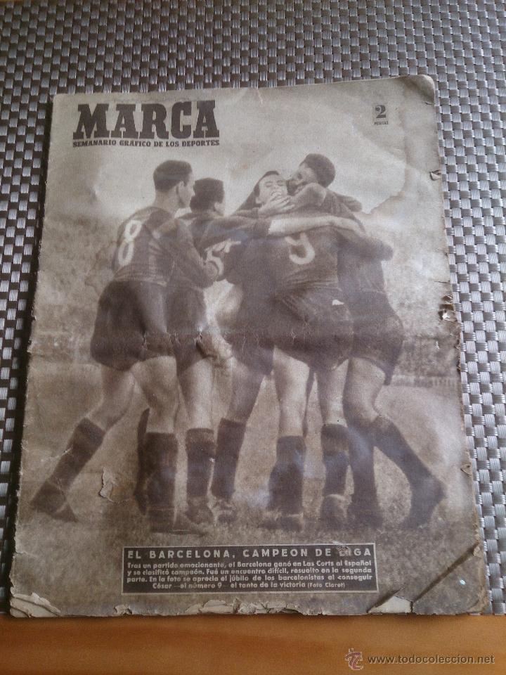 MUY ANTIGUO PERIÓDICO MARCA AÑO 1949. EL BARCELONA CAMPEÓN (Coleccionismo Deportivo - Revistas y Periódicos - Marca)