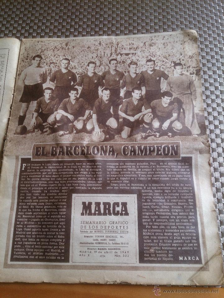 Coleccionismo deportivo: muy antiguo periódico Marca año 1949. EL BARCELONA CAMPEÓN - Foto 2 - 42620843