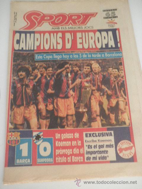 DIARIO SPORT - Nº 4496 - 21 MAYO 1992 - BARÇA CAMPEON COPA EUROPA WEMBLEY - SAMPDORIA - KOEMAN - (Coleccionismo Deportivo - Revistas y Periódicos - Sport)