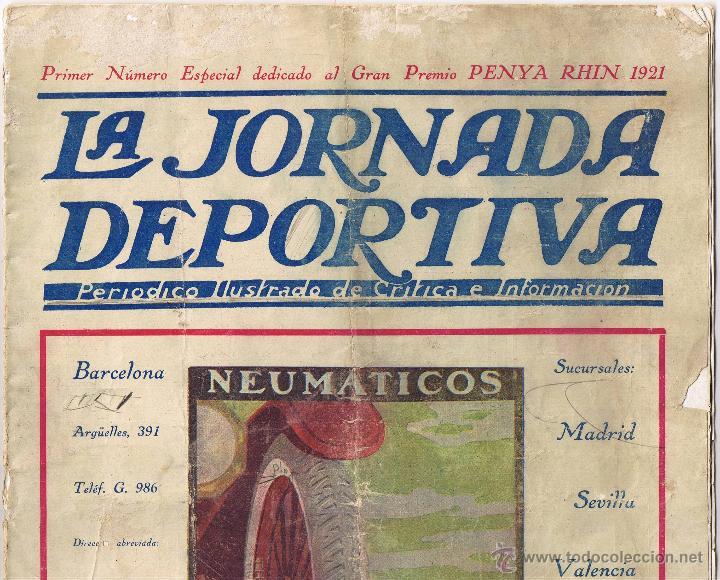 LA JORNADA DEPORTIVA PRIMER Nº ESPECIAL GRAN PREMIO PENYA RHIN 1921 - (Coleccionismo Deportivo - Revistas y Periódicos - La Jornada Deportiva)