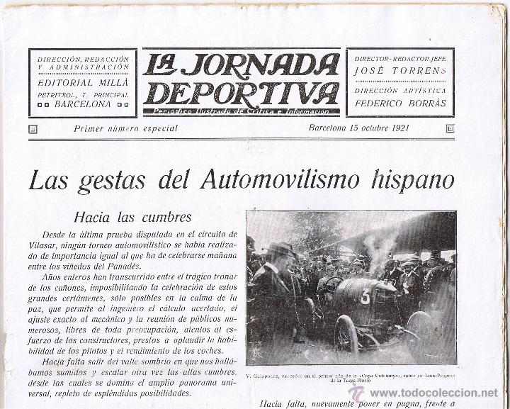 Coleccionismo deportivo: LA JORNADA DEPORTIVA PRIMER Nº ESPECIAL GRAN PREMIO PENYA RHIN 1921 - - Foto 3 - 43293569