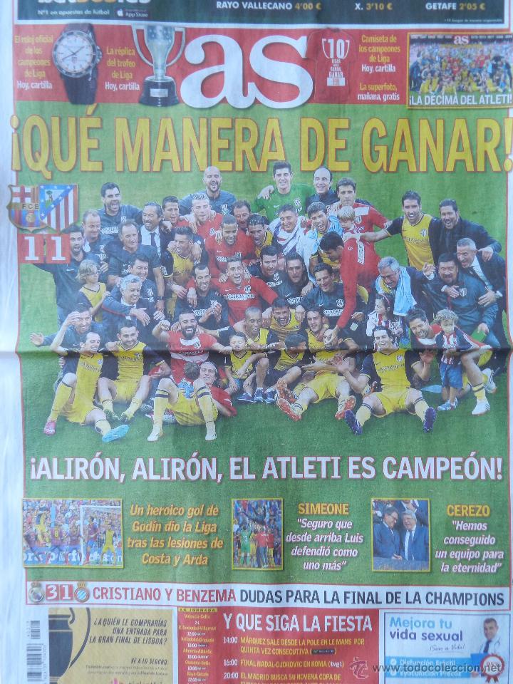 Coleccionismo deportivo: DIARIO AS - ATLETICO DE MADRID CAMPEON LIGA 13/14 - ATLETI ALIRON CAMPEONES 2013 2014 SIMEONE FINAL - Foto 2 - 43469020