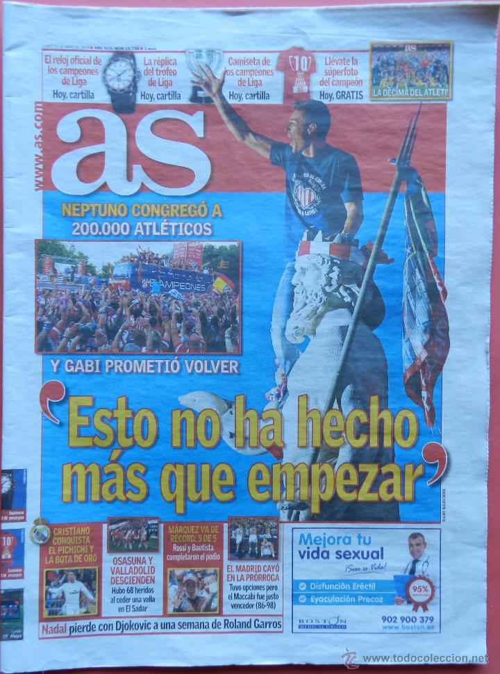 DIARIO AS - CELEBRACION NEPTUNO ATLETICO DE MADRID CAMPEON LIGA 13/14 ATLETI CAMPEONES 2013 2014 (Coleccionismo Deportivo - Revistas y Periódicos - As)