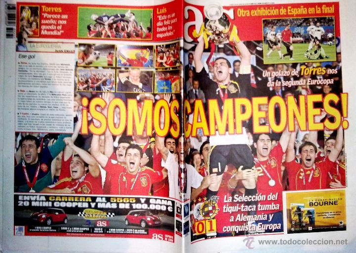PERIODICO DIARIO AS ESPAÑA CAMPEONA DE EUROPA FINAL ESPAÑA - ALEMANIA (Coleccionismo Deportivo - Revistas y Periódicos - As)