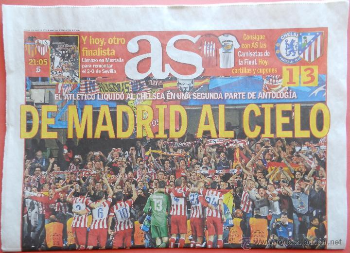 DIARIO AS - ATLETICO DE MADRID CLASIFICACION FINAL CHAMPIONS LEAGUE 13/14 ATLETI CHELSEA 2013 2014 (Coleccionismo Deportivo - Revistas y Periódicos - As)