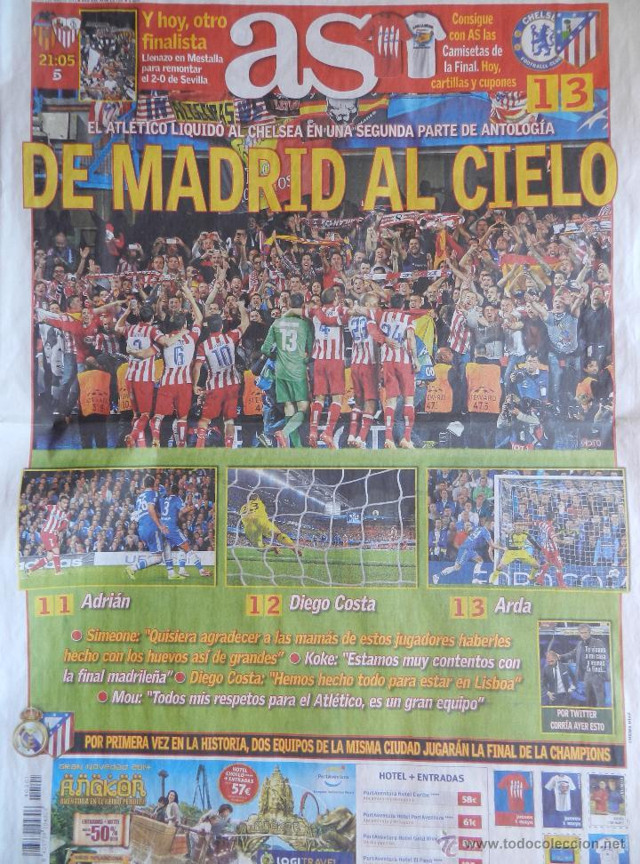Coleccionismo deportivo: DIARIO AS - ATLETICO DE MADRID CLASIFICACION FINAL CHAMPIONS LEAGUE 13/14 ATLETI CHELSEA 2013 2014 - Foto 2 - 43623805