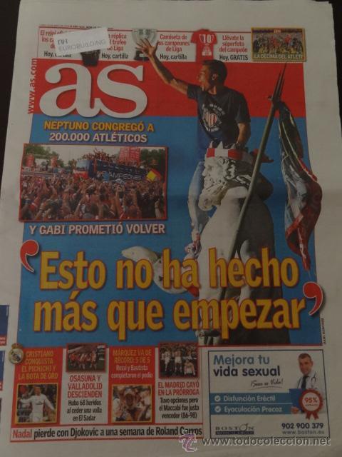 AS ATLETICO MADRID CAMPEON LIGA 2013-14 -CELEBRACION NEPTUNO- 19 MAYO 2014 (Coleccionismo Deportivo - Revistas y Periódicos - As)