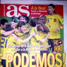 Coleccionismo deportivo: PERIODICO AS ESPAÑA A LA FINAL DE LA COPA DE EUROPA 2008 ESPAÑA 3 RUSIA 0. Lote 44087411