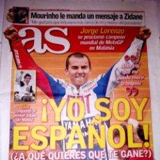 Coleccionismo deportivo: PERIODICO AS MOTOCICLISMO LORENZO CAMPEON DEL MUNDO 2010 GP Y ELIAS MOTO2. Lote 44087443