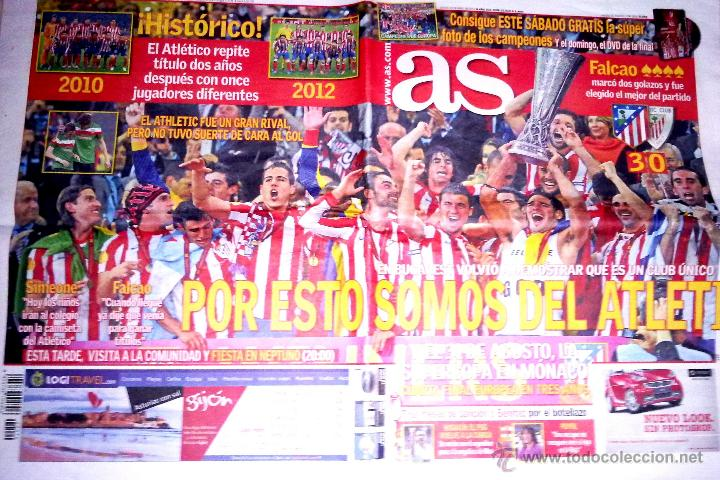 PERIODICO AS FUTBOL ATLETICO DE MADRID CAMPEON EUROPA LEAGUE UEFA 3 - 0 ATHLETIC BILBAO (Coleccionismo Deportivo - Revistas y Periódicos - As)